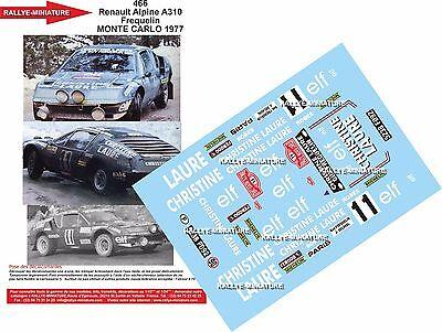Buono Decalcomanie 1/43 Ref 0466 Alpine Renault A310 Frequelin Rally Monte Carlo 1977