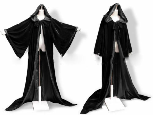 Black Hooded Velvet Wizard Cloak//Cape Men Halloween With Sleeves Robe HOT SELL