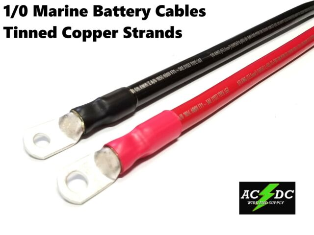 """Camco 47483 Red 3//8/"""" Stud 12/"""" Long 2-Gauge Marine Battery Cable and Tinned Lug"""