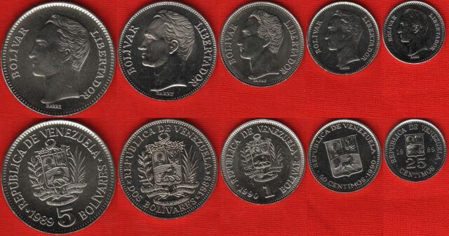 Venezuela set of 5 coins: 25 centimos - 5 bolivares 1989-90 UNC