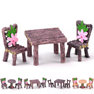Fairy-Garden-Miniature-Doll-House-Wood-Look-3pc-Set-Table-And-Chairs-Flowers-NEW