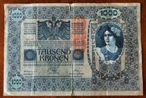 Pre-WWI-Currency-1000-TAUSEND-KRONEN-BANK-NOTE-Austria-Hungary-1902