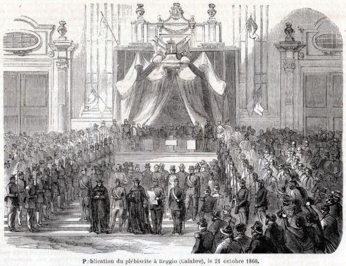 Reggio Calabria:Risultati Plebiscito Annessione Regno d/'Italia.Risorgimento.1860