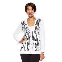 Joan Boyce Embellished White Boyfriend Cardigan Sweater Xs $135 Sequined