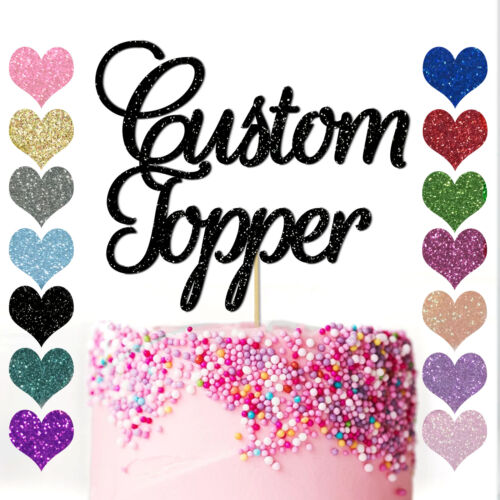 Personalised Any Word Name Age Glitter Birthday Cake Topper Party Decoration