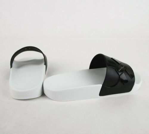 Salvatore Ferragamo Men's Dante Black/White Rubber Slide Sandal 0682459