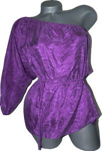 035632dfe46 NWT REBECCA TAYLOR 6 one-shoulder top sandwashed silk python purple ...