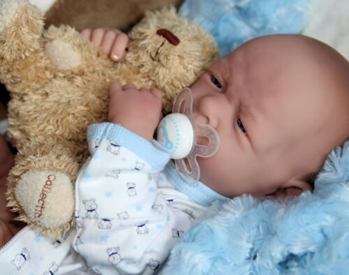 "Preemie Life Like Reborn Pacifier Doll BABY BOY /""DOGGIES/"" Extras AWW"