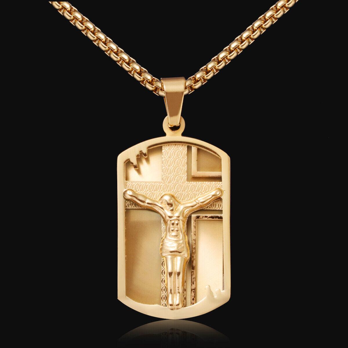 Herren Gold Halskette mit Kreuz Anhänger 750er Gold 18