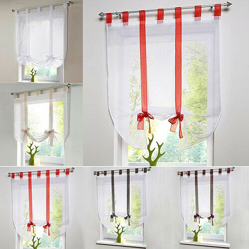 HN- Voile Tulle Balloon Window Living Room Sheer Tie Up Blin
