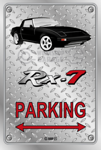 Parking-Sign-Metal-Mazda-RX7-Series-1-Black-Momos-White-Checkerplate-Look
