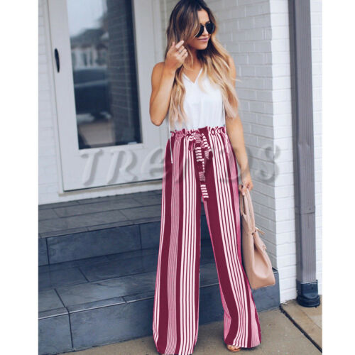 UK Womens Ladies Summer Wide Leg High Waisted Loose Striped Long PantsTrousers