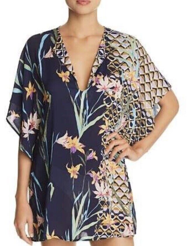 NWT  Sz Medium M Trina Turk Fiji Floral Swim Cover Tunic