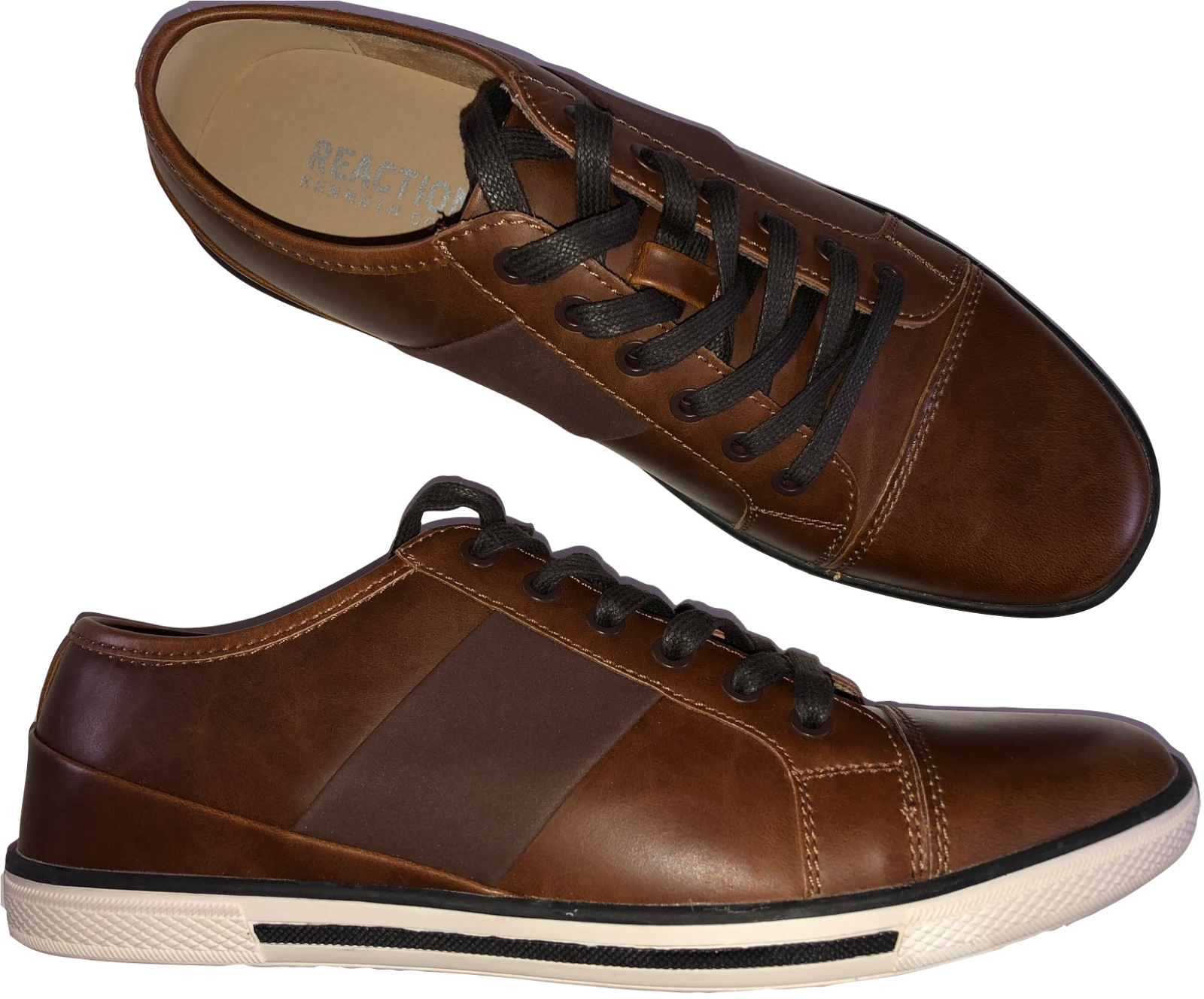 Kenneth Cole Reaction Challis Shoe Brown Leather Hand Made Upper Men's Size 9