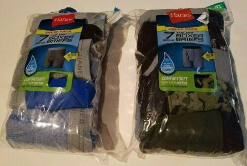 Boys Hanes Comfortsoft 7 Pk Boxer Briefs Various Colors Size Large 14-16