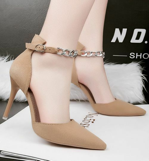 decolte comodi sandali stiletto 9 cm comodi decolte eleganti beige cinturino simil pelle CW713 1687a0