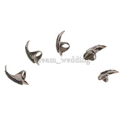 5 Stück Gothic Fingerspitzenring Nagel Ring Nagelring Kralle Ring Schwarz