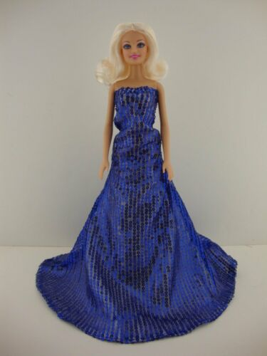 Spectacular Royal Blue Sequined Mermaid Gown Made to Fit Barbie Doll