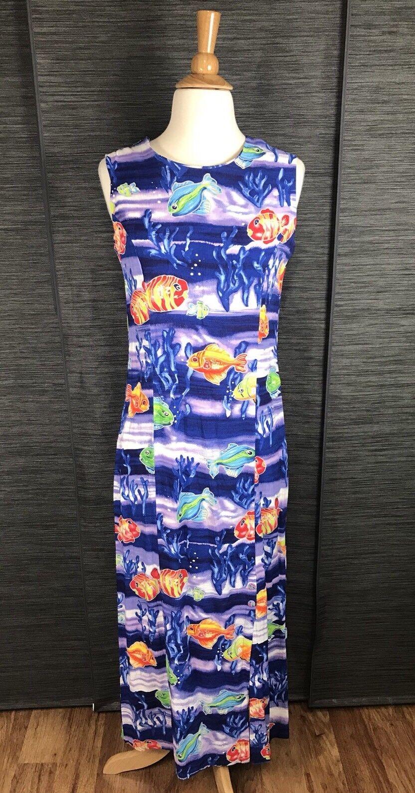 JAM'S WORLD Hawaiian Maxi Dress Talking Fish Sea Print Long Sleeveless Sz S