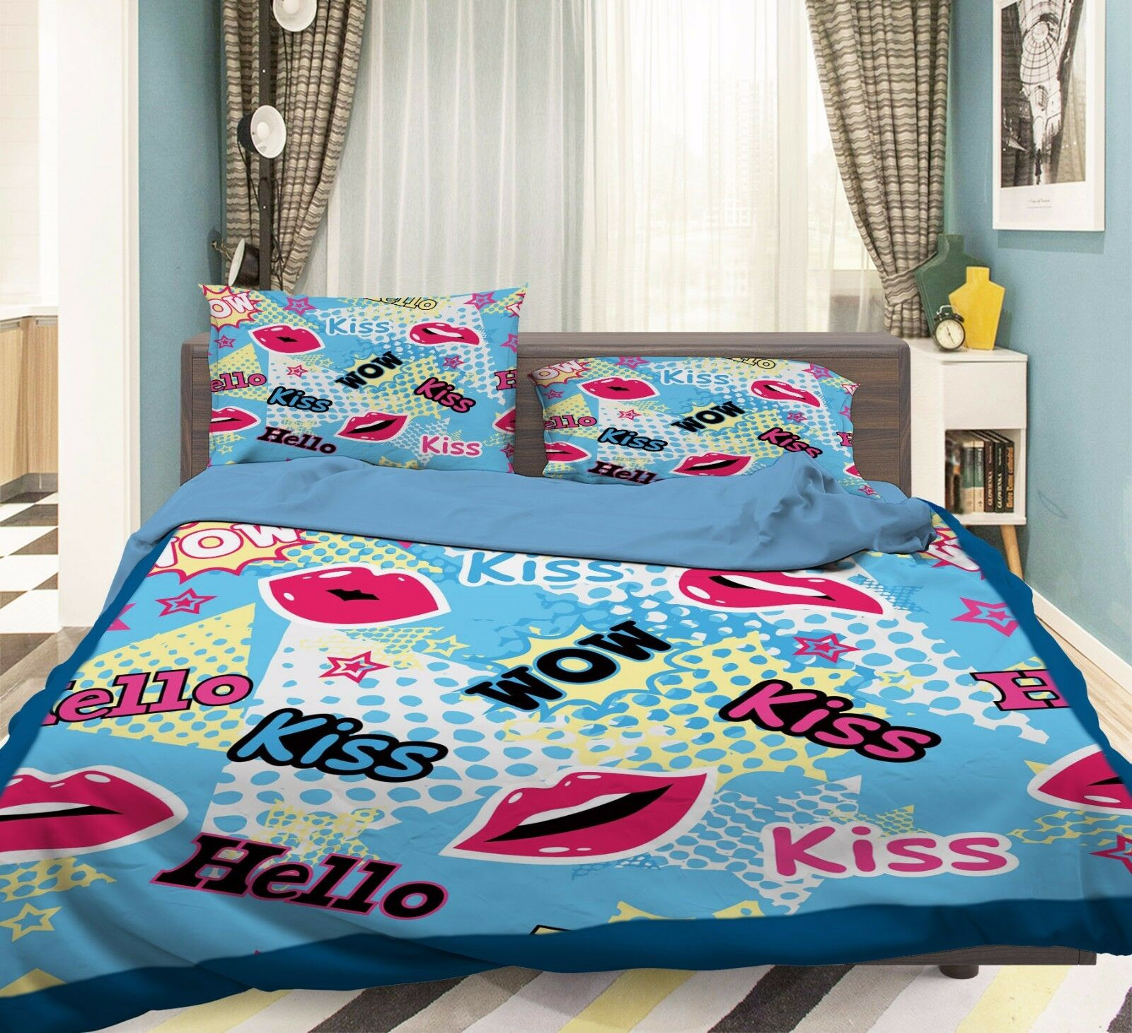 3D Rote Lippen 637 Bett Kissenbezüge steppen Duvet Decken Set Single DE Sunmmer