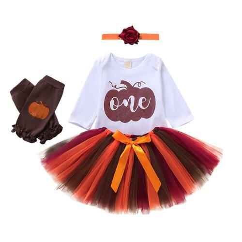 Gauze Skirts Headwear Sets 3pcs Cute Kid Baby Girl Thanksgiving Romper Tops