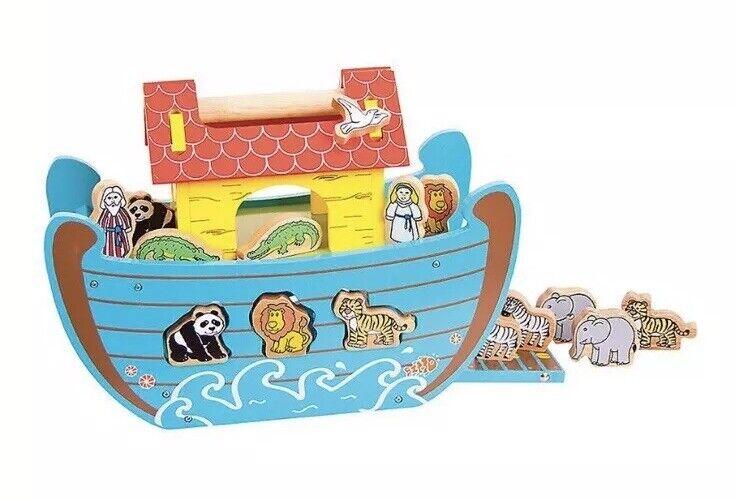 New NIB Bigjigs Toys Wooden Noahs Ark Animal Play Set And Shape Sorter