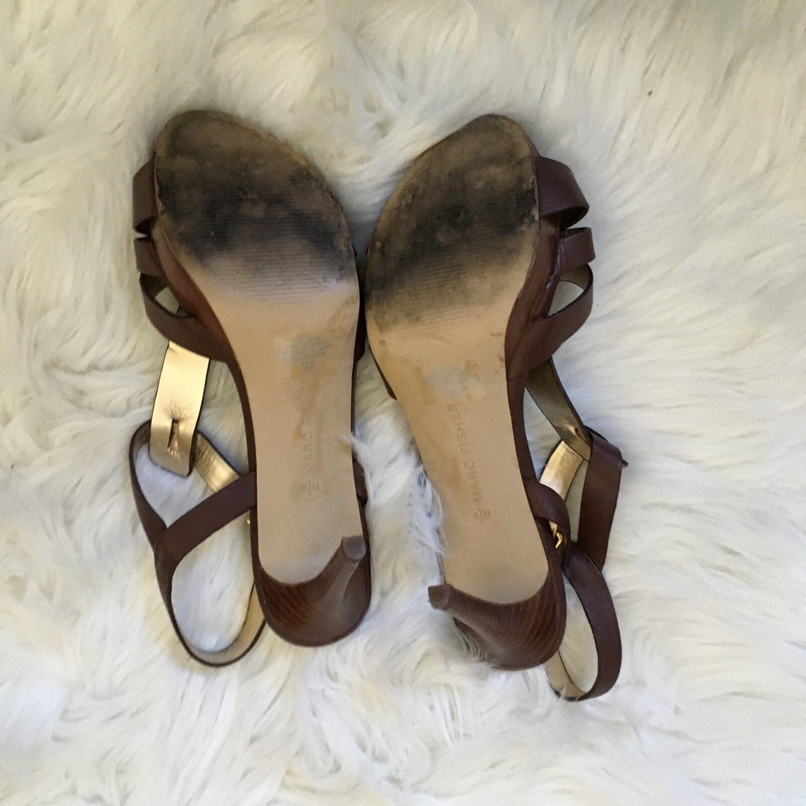 Marc fisher sandals 9.5 Marronee leather t-strap t-strap t-strap varika2 platforms - Dimensione 9.5 edc898