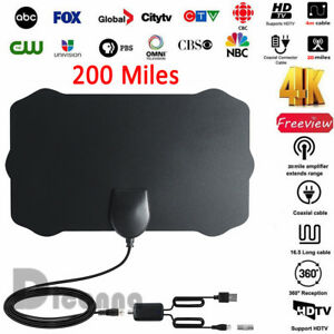 200Mile-HDTV-Indoor-Antenna-Aerial-HD-Digital-TV-Signal-Amplified-Booster-amp-Cable