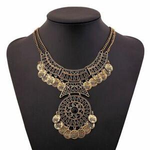 Boho-Women-Vintage-Double-Chain-Ethnic-Antique-Turkish-Necklace-Pendant-Jewelry