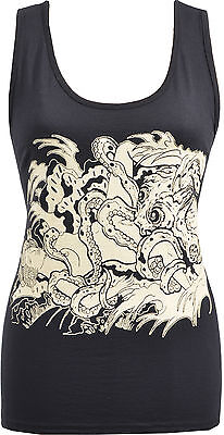 LADIES BLACK TANK TOP FISHERMAN/'S WIFE OCTOPUS JAPANESE TATTOO GEISHA S-2XL