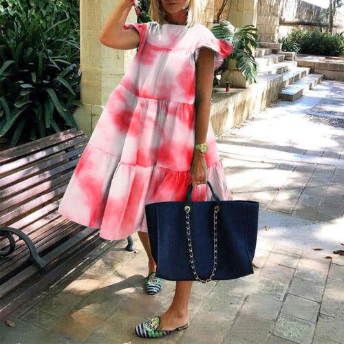 Women Short Sleeve Printed Baggy Sundress Party Vintage Dresses Loose Midi Dress