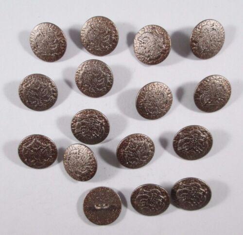 Metall  Knopf Knöpfe 15 stück  Bronze  Wappen   15 mm   #831#