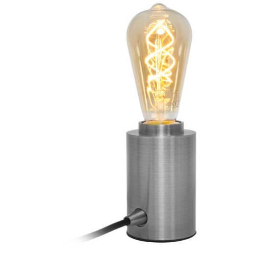 100W LEDs light Tischleuchte Tischlampe Metall stahlfarben Fassung E27 max