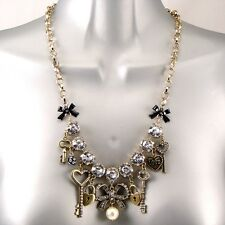 Vintage Gold Gypsy Keys Locks Bows Pearl Crystal Charms Bling Statement Necklace