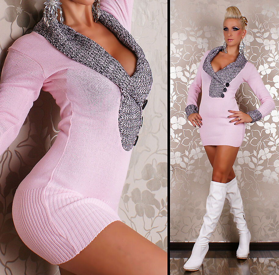 NEW SEXY LONG SLEEVE KNITTED MINI DRESS JUMPER SWEATER 8-10 DESIGNER PARTY CLUB