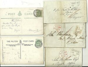 1842-1908-5-AIRDRIE-POSTAL-HISTORY-ITEMS-2-WRAPPERS-1-LETTER-2-PPCs-LANARKS