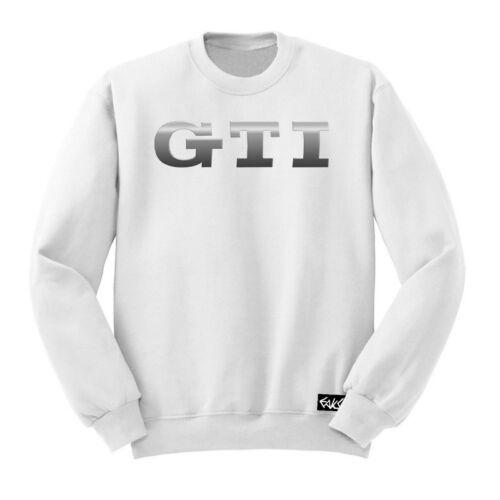 "EAKS® Herren Sweatshirt /""GTI-SCHRIFTZUG/"" weiß Logo Emblem Pullover Golfdriver"