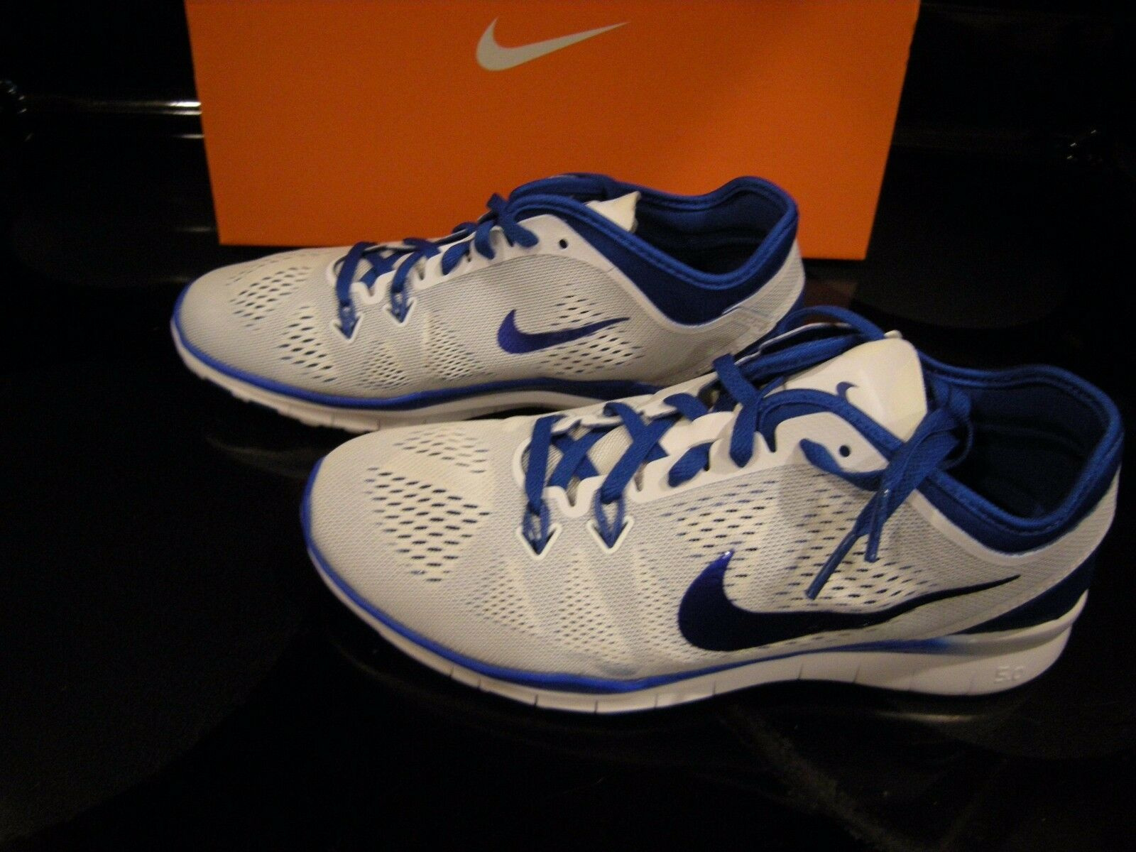 Brand New Womens White & Blue Nike Free 5.0 TR Fit 5 Tennis Shoes, Comfortable
