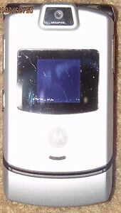Motorola-Razr-V3-AT-T-ATT-Silver-Cell-Phone-Camera-Fast-Ship-Good-Used-Issue