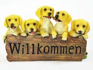 Willkommen Dekofigur Hund Hundewelpen Deko Figur Mit 5 Welpen Dog