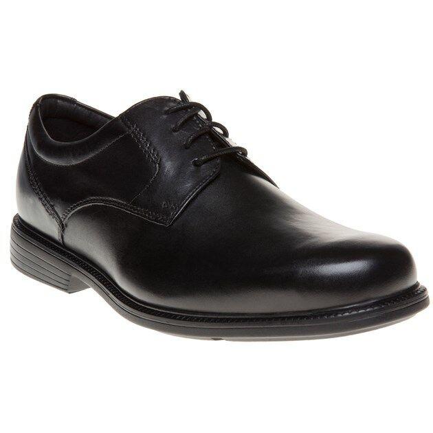 New Mens Rockport Black Charlesroad Plaintoe Leather Shoes Lace Up
