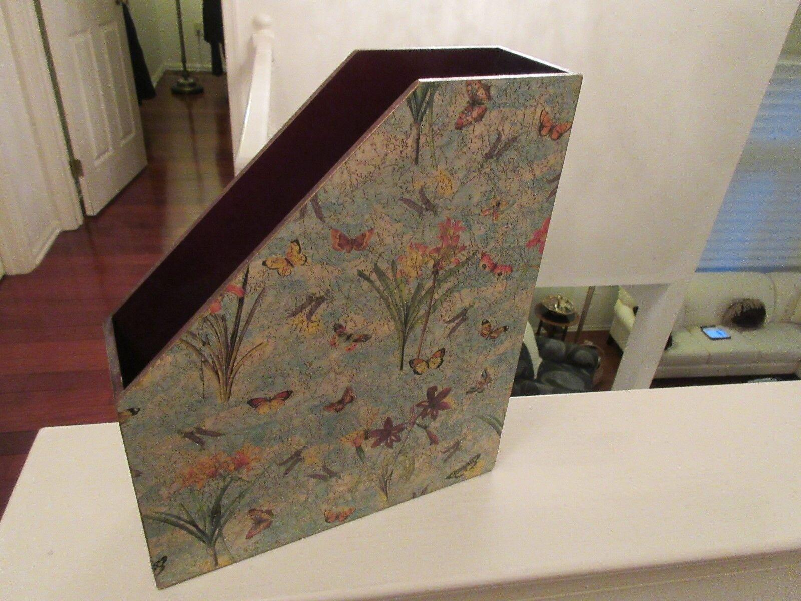 "Magazine/Folder Holder ,10"" X 3"" X 12"" , Butterfly/Flor"