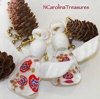 White Christmas Angel Holiday Murano Glass Ceiling Fan Light Switch Pulls Pair