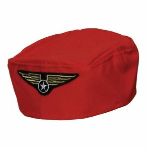 Red FLIGHT ATTENDANT HAT Airline Hostess Stewardess Flying Cabin ... 5db0cdc5036