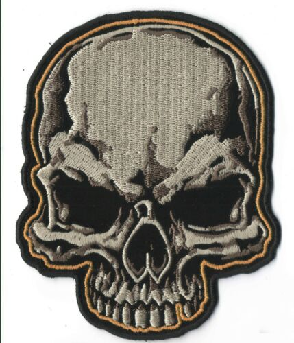 "Large Half Skull Iron On Sew On Embroidered Patch 4 /""X 5/"""