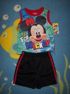 Mickey-Mouse-Short-Set-2pc-Boys-2T-5Toddler-Disney-Junior-Roadster-Racers-New
