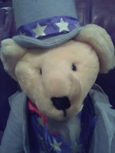 "Carrousel Bear Uncle Sam Terry and Doris Michaud Handcrafted Mohair 18"" GWO"