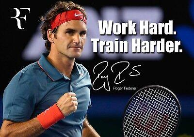 format A4 pr/é sign/é Format A4-30,5 x 20,3 cm Roger Federer Poster photo avec citation Play Your Best