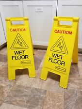 Rubbermaid Wet Floor Sign Yellow Redblack Lettering Two Sided Lot Of 2 6109