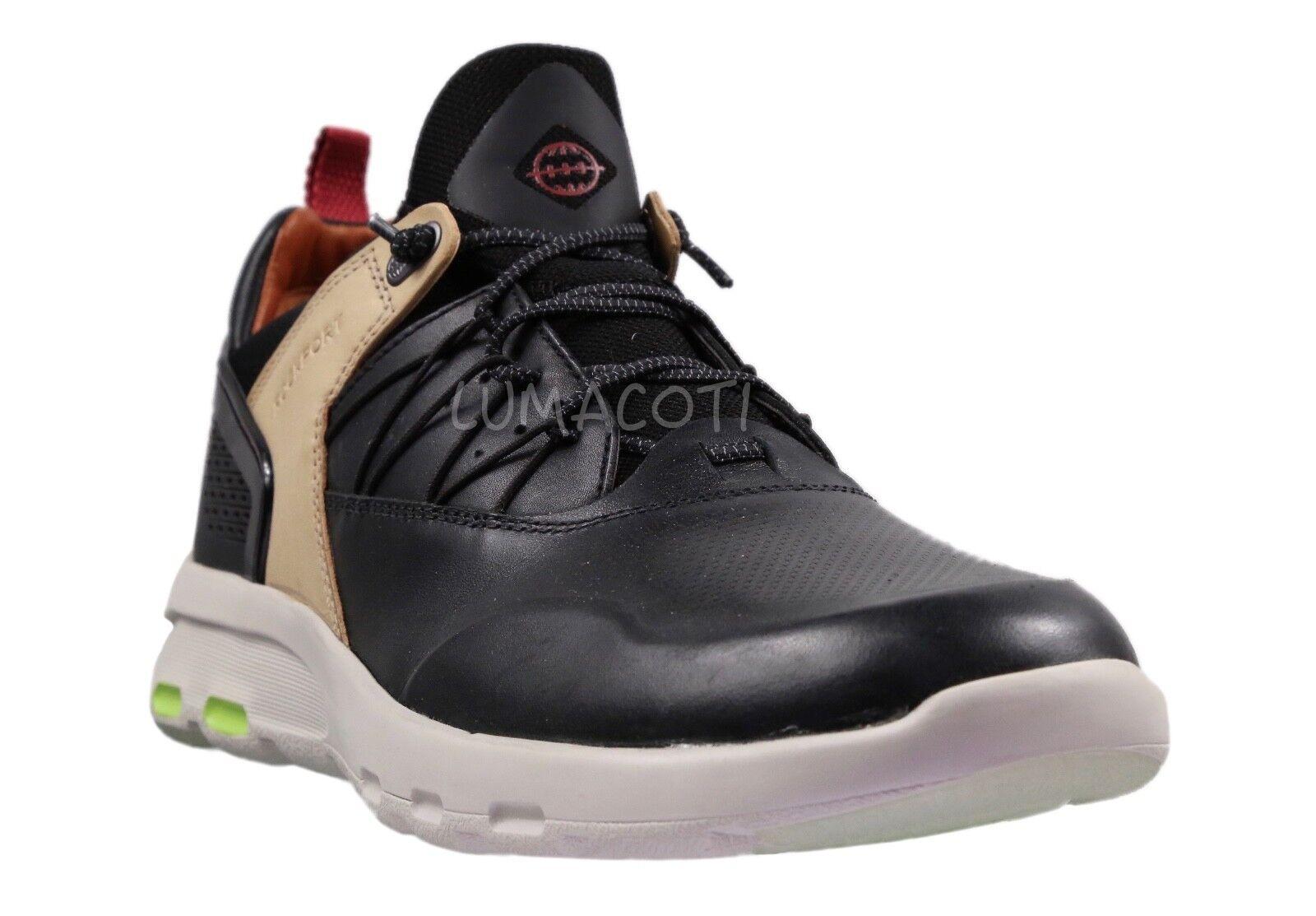 Mens Rockport Lets Walk Sneakers - Black Leather Size 9